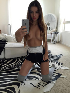 Busty teens topless make selfie at..